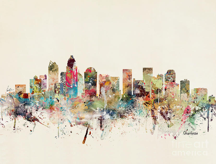 United States Painting - Charlotte City Skyline by Bri Buckley