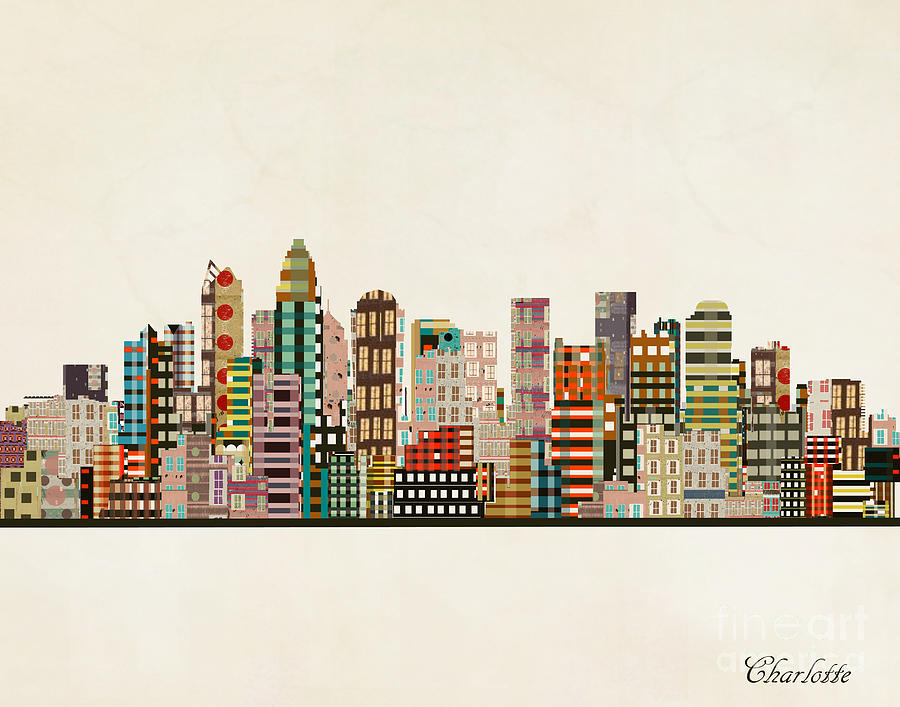 Charlotte Skyline Painting - Charlotte North Carolina by Bri Buckley