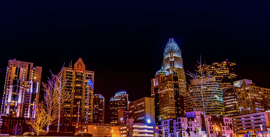 Charlotte Skyline At Night by Ant Pruitt