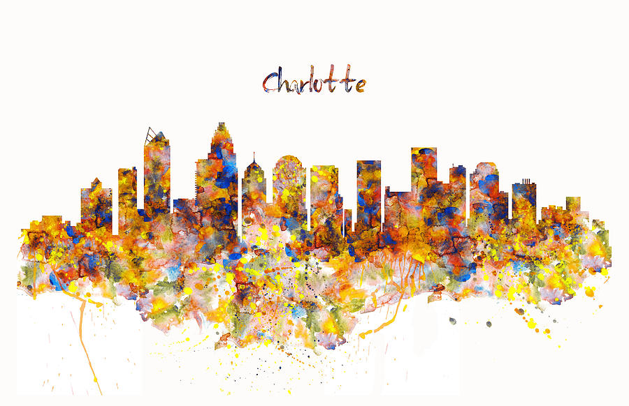 Charlotte Painting - Charlotte Watercolor Skyline by Marian Voicu