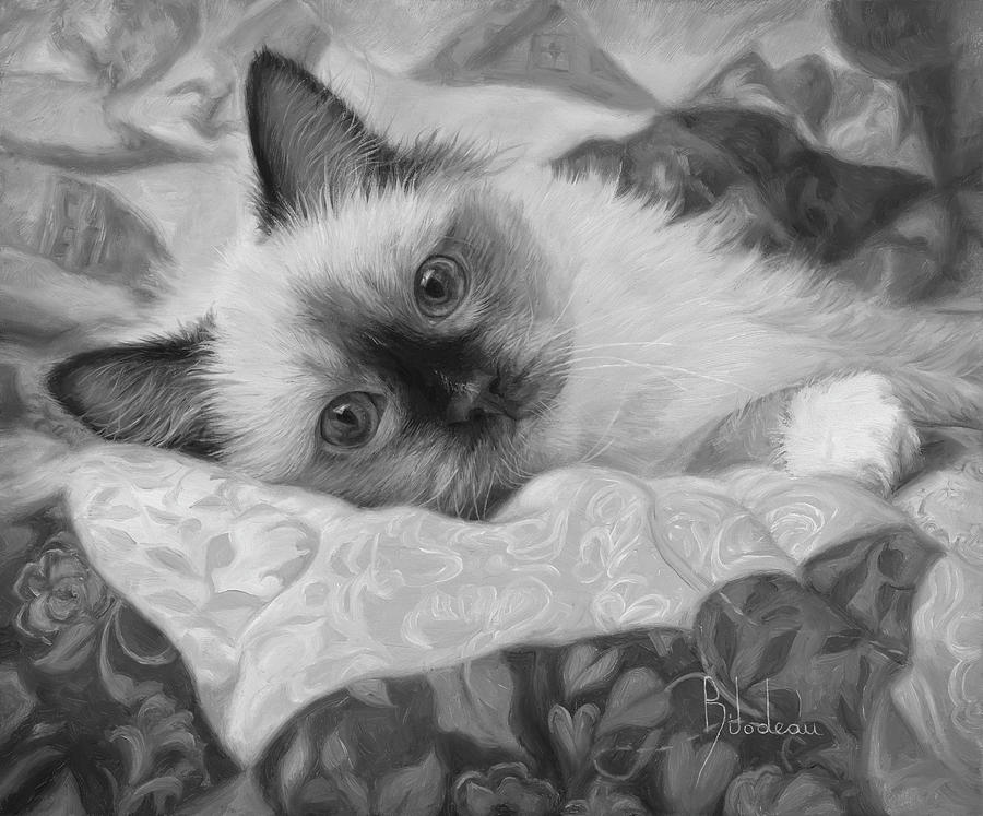 Cat Painting - Charming - Black And White by Lucie Bilodeau