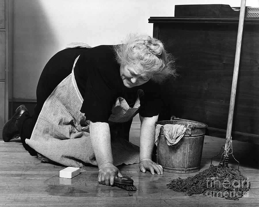 Charwoman Scrubbing Floor C 1930s Photograph By H