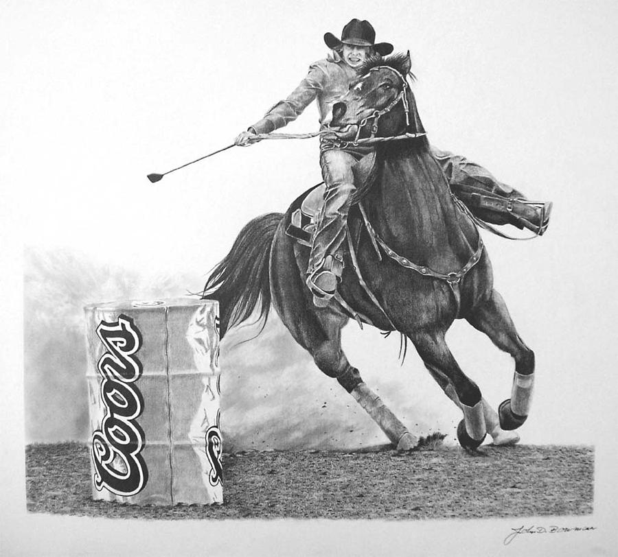 Chasin The Cans-rodeo Barrel Racer Drawing by John Bowman