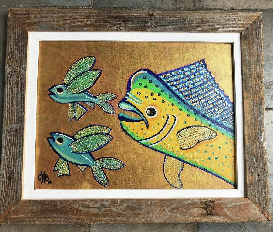 Chasing Flying Fish Framed Painting
