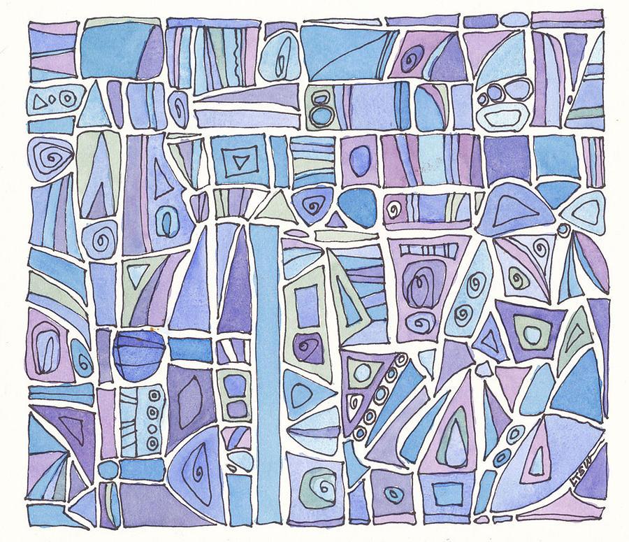 Abstract Design Drawing - Chasing The Blues by Linda Kay Thomas