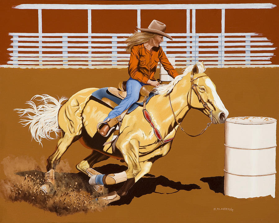 Barrel Painting - Chasing The Cans by Hugh Blanding
