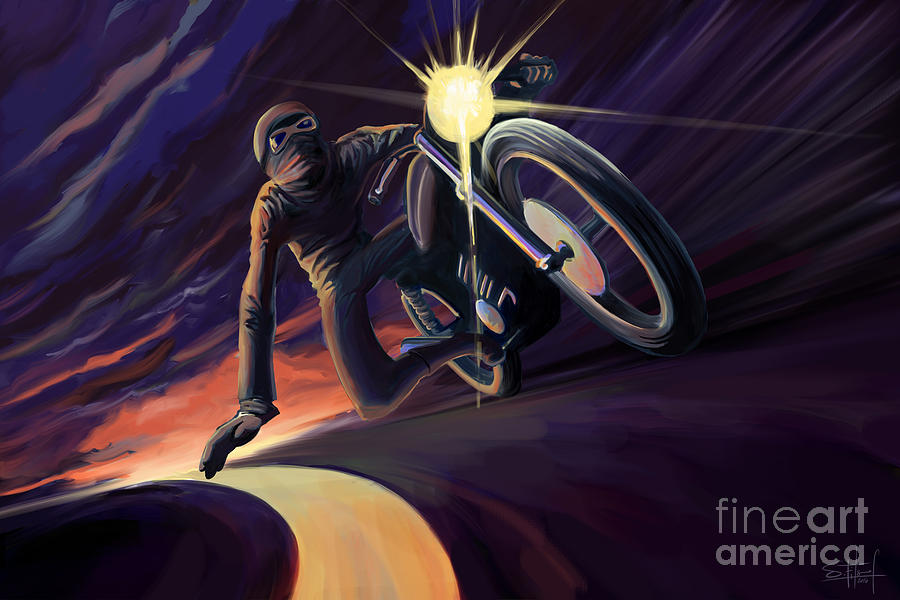 Cafe Racer Painting - Chasing The Line Speed Racer by Sassan Filsoof