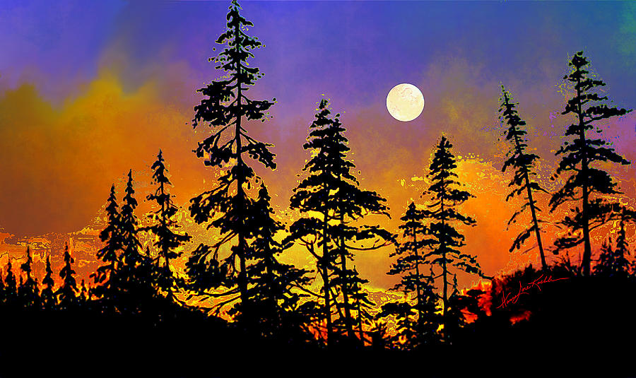 Trees Painting - Chasing The Moon by Hanne Lore Koehler