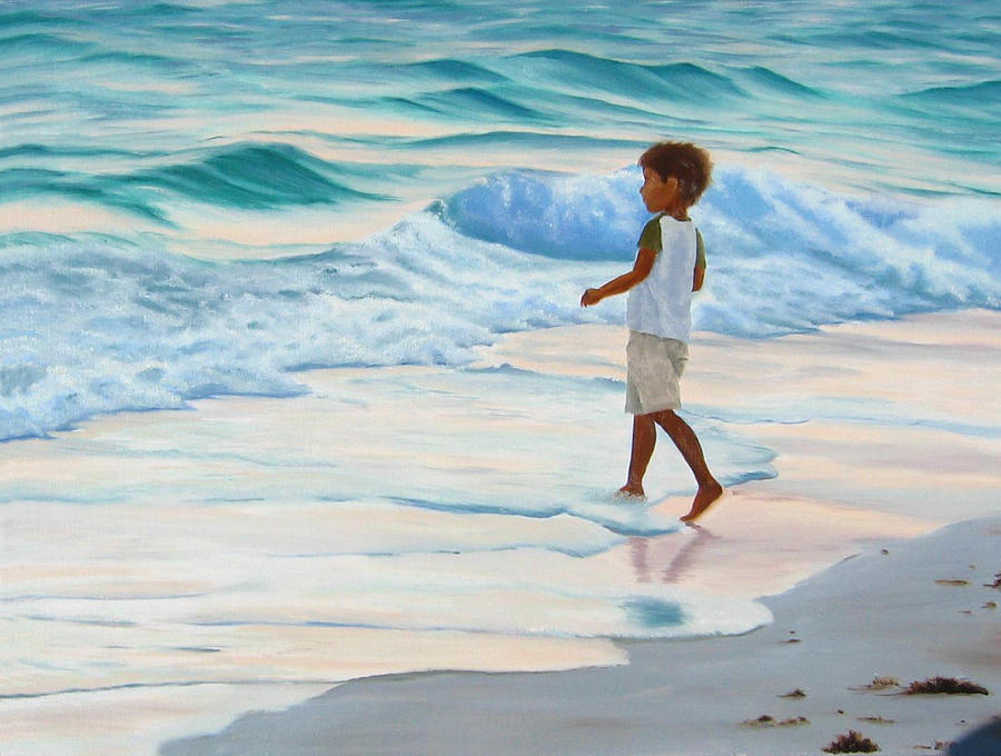 Child Painting - Chasing The Waves by Lea Novak