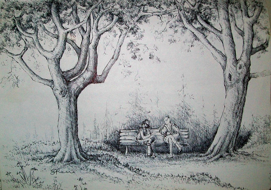 Trees Drawing - Chat In The Park by Georges St Pierre