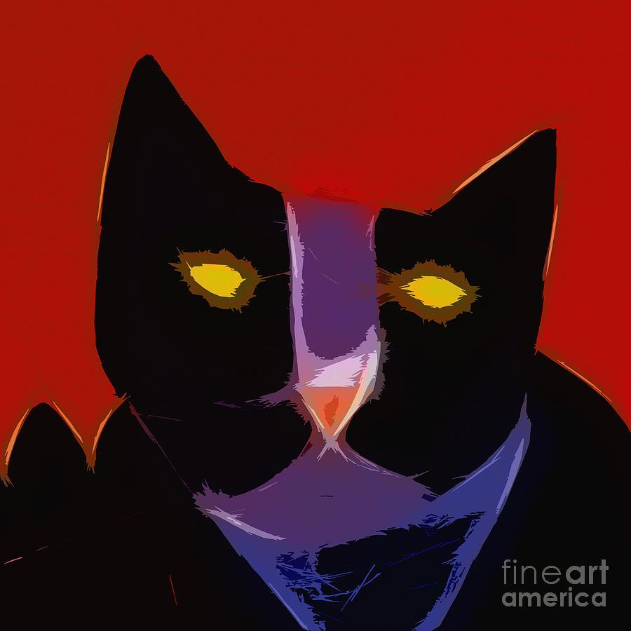 Black Cat Digital Art - Chat Noir by Lutz Baar