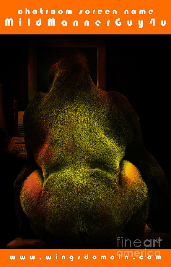 Gorilla Photograph - Chatroom Screen Name Mildmannerguy4u . With Text by Wingsdomain Art and Photography
