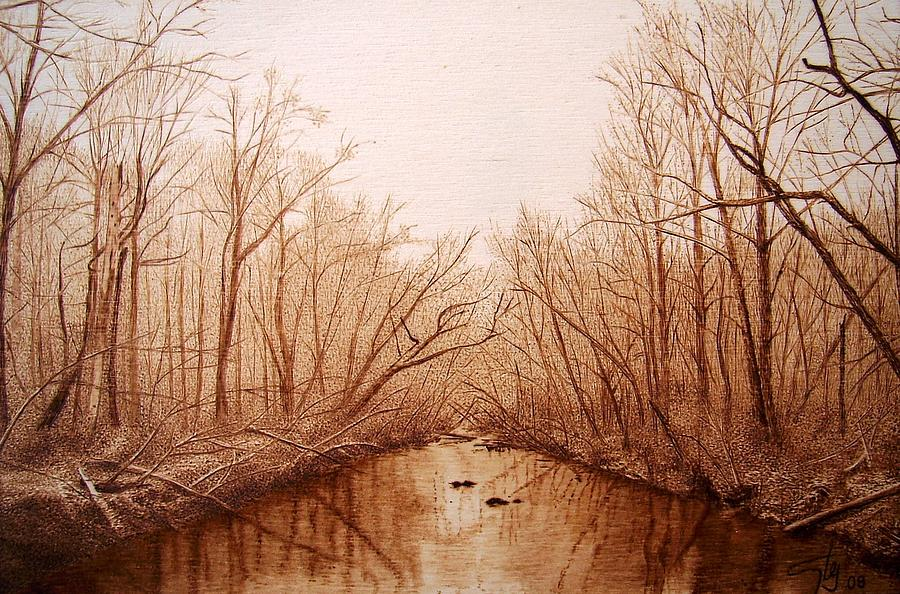 Chattahoochee River In Georgia Pyrography by Juan Carlos ...