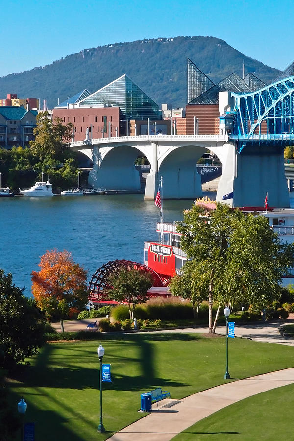 Market Street Bridge Photograph - Chattanooga Landmarks by Tom and Pat Cory