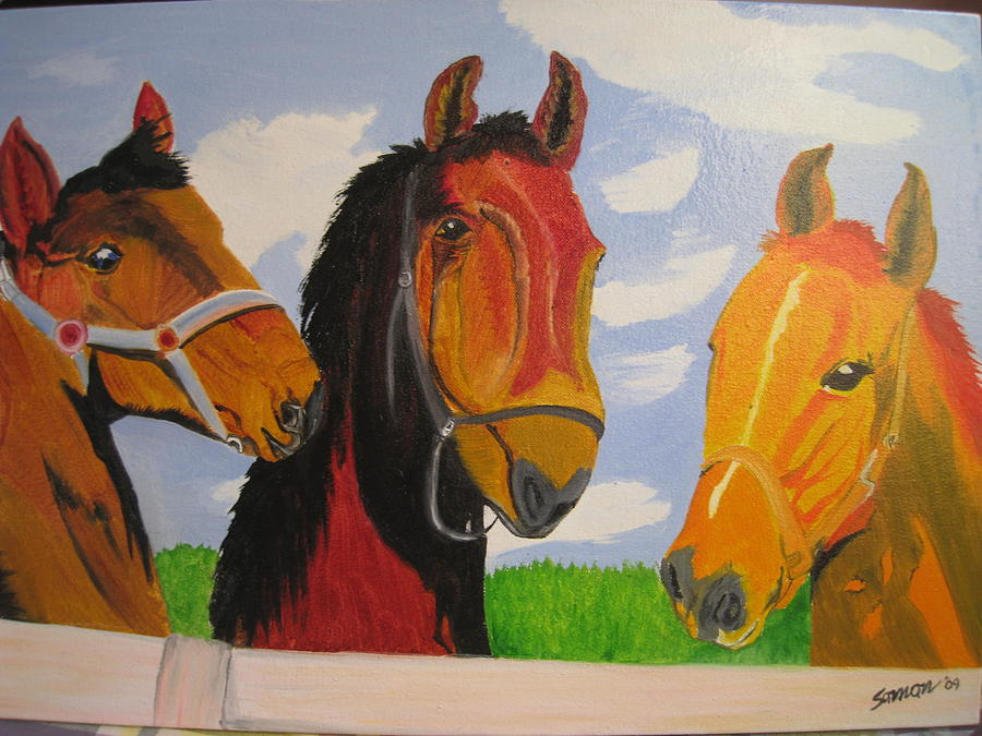 Horses Painting - Chatting by Saman Khan