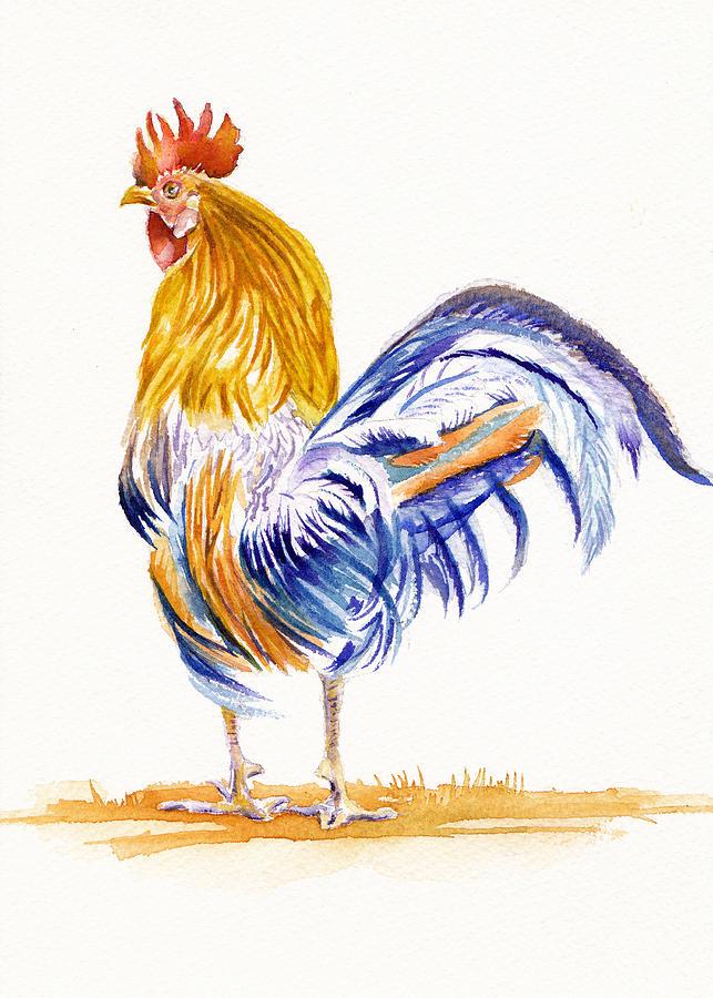 Cockerel Painting - Chauntecleer by Debra Hall
