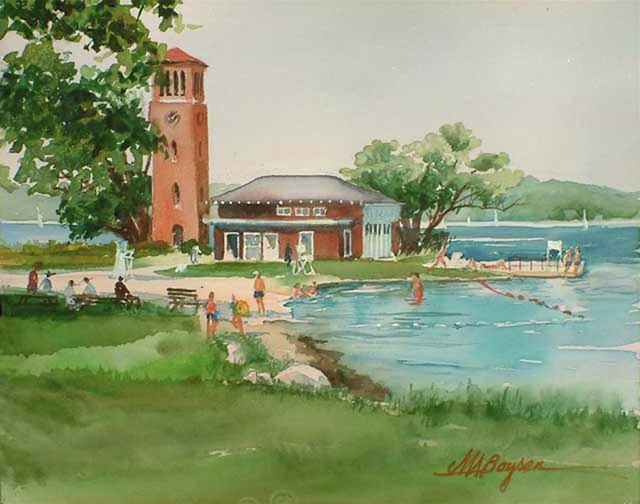 Chautauqua Institution Painting - Chautauqua Bell Tower And Beach by Maryann Boysen