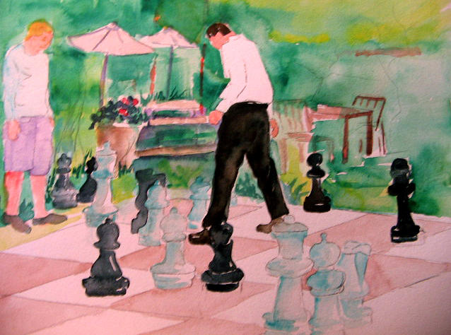 Chess Painting - Check-mate by Lily  Azerad-Goldman