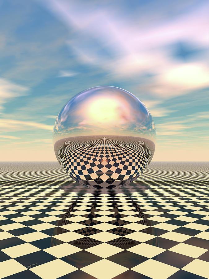 Checker Digital Art - Checker Ball by Phil Perkins