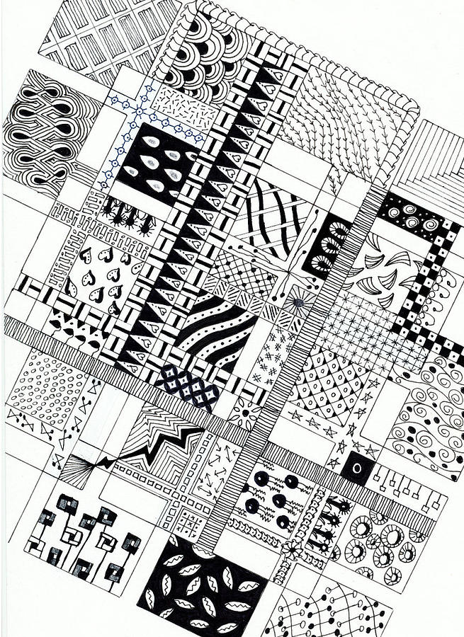 Zentangle Drawing - Checkerboard by Bev Donohoe