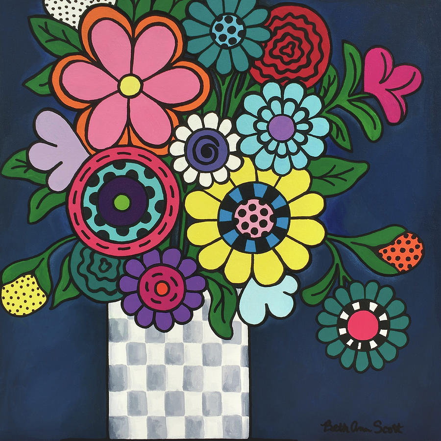 Flowers Painting - Checkered Bouquet by Beth Ann Scott