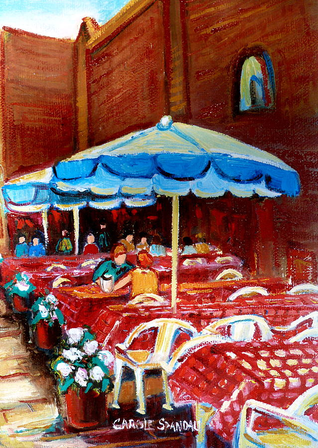 Montreal Painting - Checkered Tablecloths by Carole Spandau