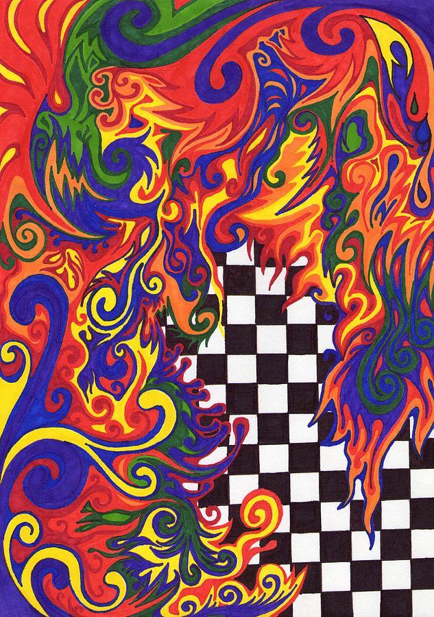 Abstract Drawing - Checkers  by Mandy Shupp