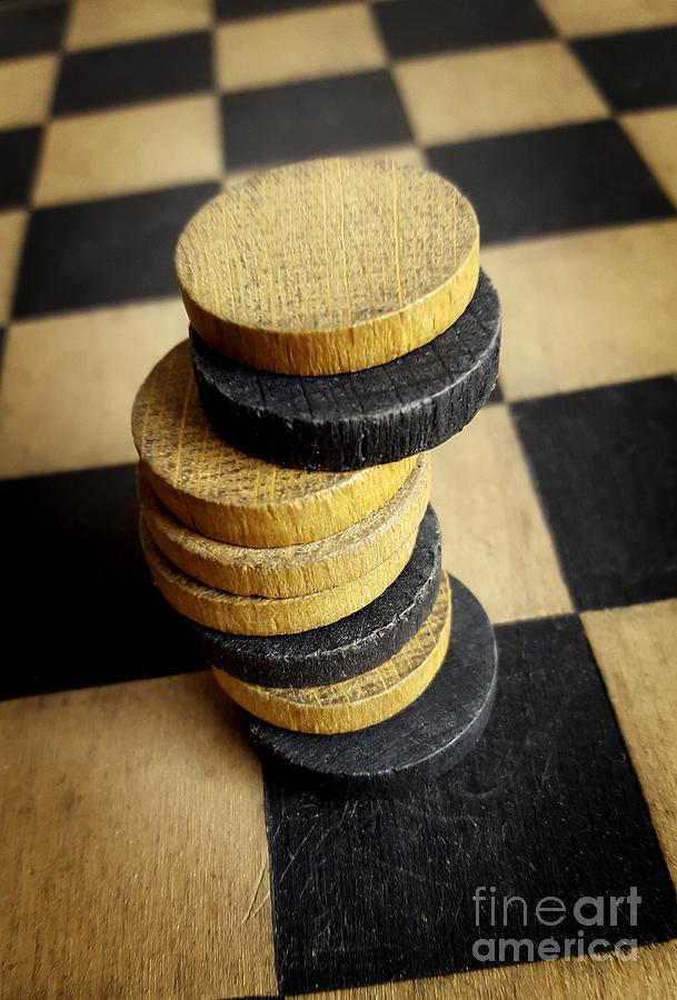 Game Photograph - Checkers On A Checkerboard by Bernard Jaubert