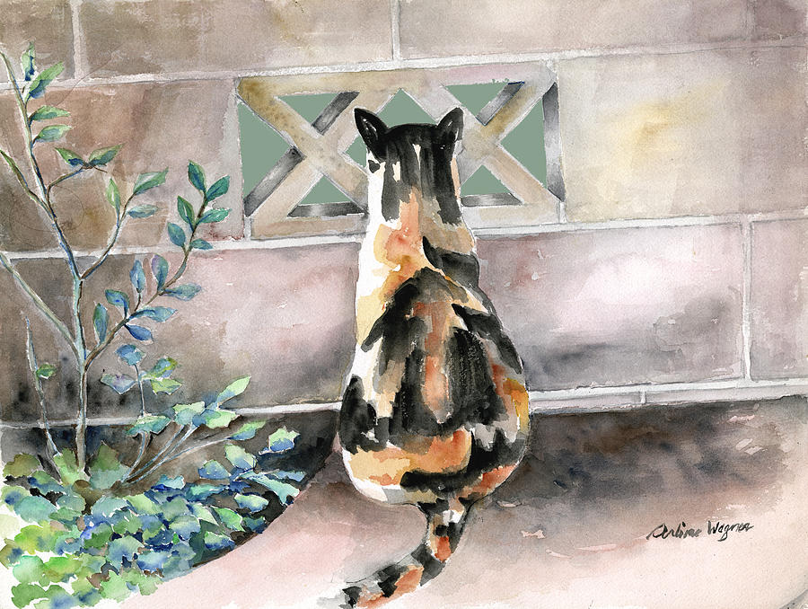 Cat Painting - Checking Out The Neighbors Backyard by Arline Wagner