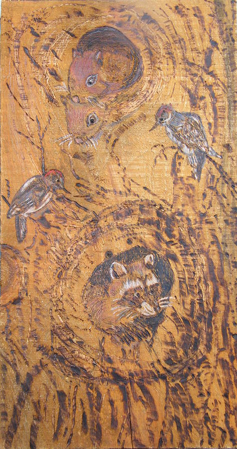 Trees Pyrography - Checking Out The New Neighbors by Margaret G Calenda