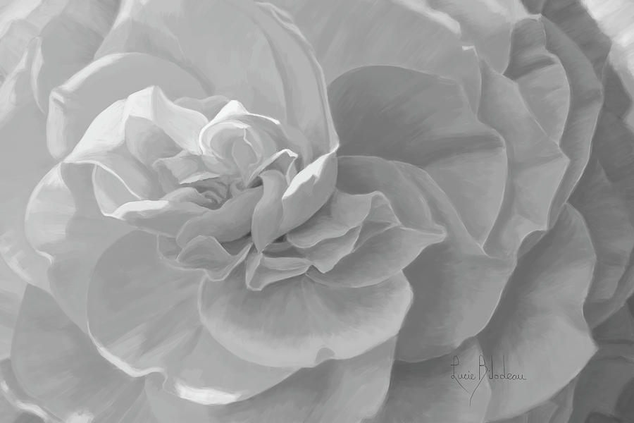 Flowers Painting - Cheerful - Black And White by Lucie Bilodeau