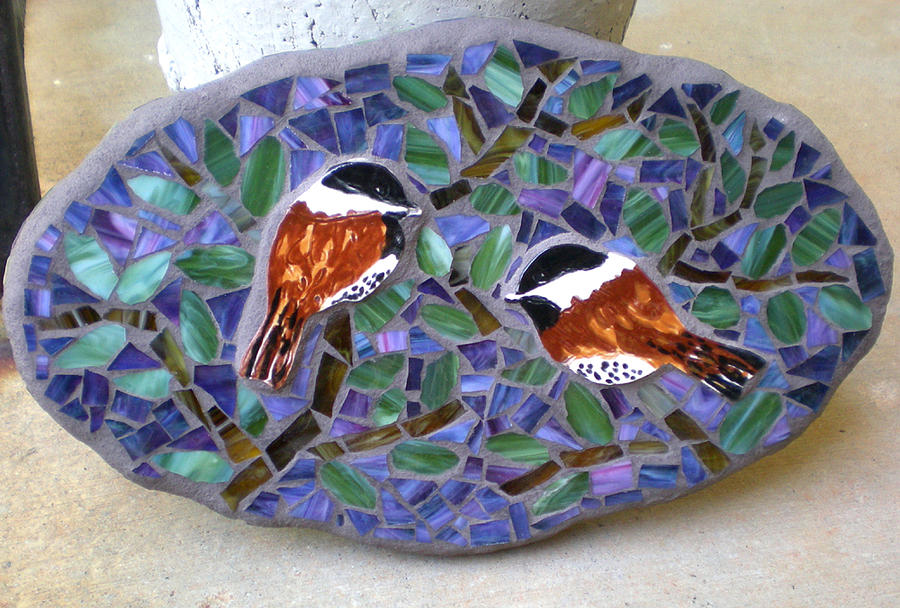 Stained Glass Mixed Media - Cheerful Chickadee Mosaic Wall Art by Kathleen Stewart