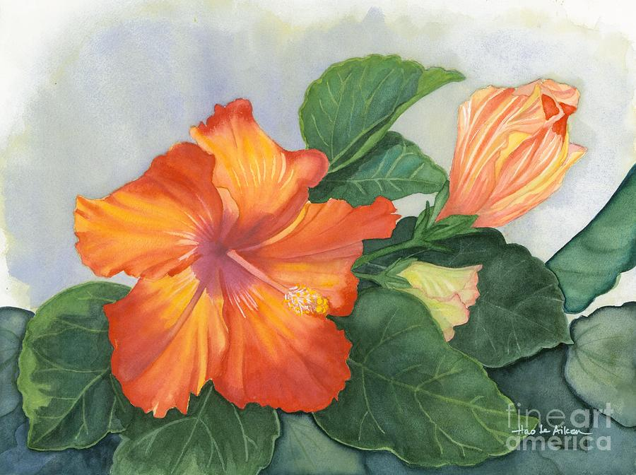 Cheerfully Yours - Hibiscus Watercolor by Hao Aiken