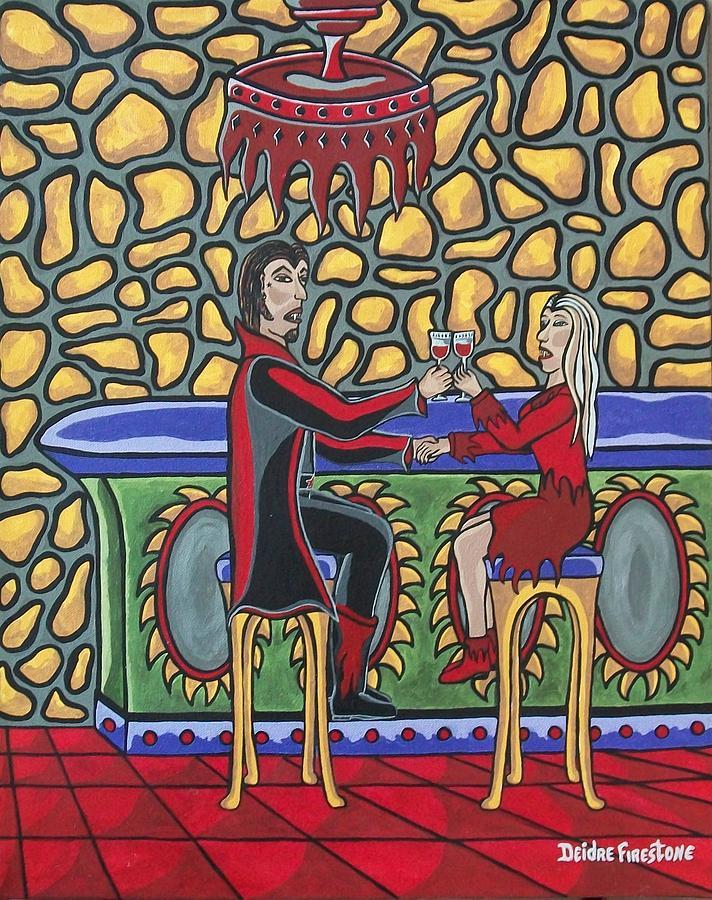 Vampire Painting - Cheers Up My Bloody Valentine by Deidre Firestone