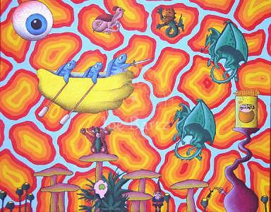 Magic Mushrooms Painting - Cheese Doodles And Magic Mushrooms by Joe Bartz