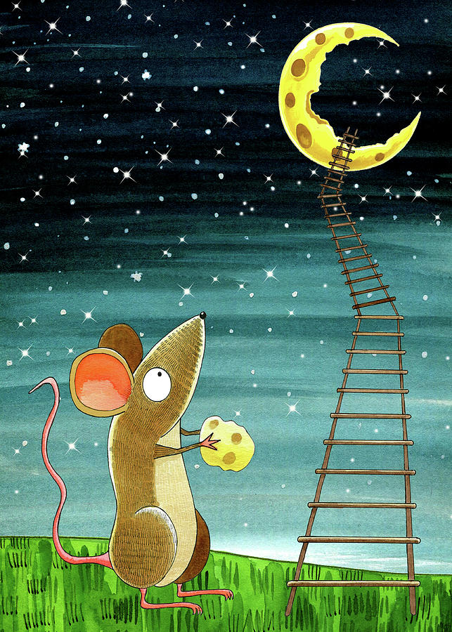 Mouse Drawing - Cheese Moon  by Andrew Hitchen
