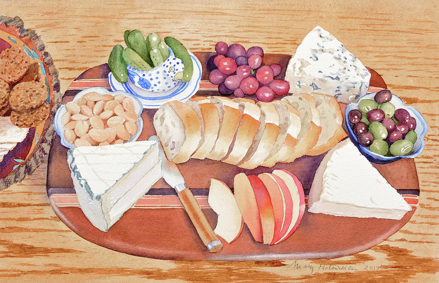 Cheese Painting - Cheese Plate for a Party by Mary Helmreich