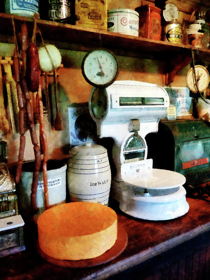 General Store Photograph - Cheese Sausage And Scale by Susan Savad
