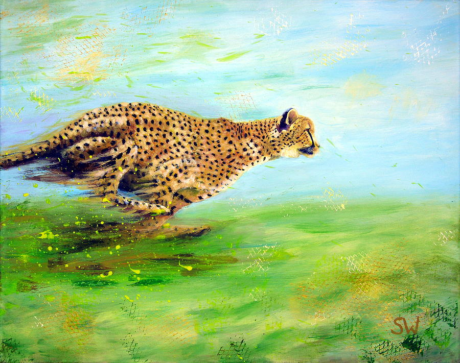 Cheetah at speed by Shirley Wellstead