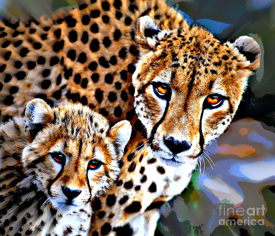 Cheetah Painting - Cheetah Family by Wbk