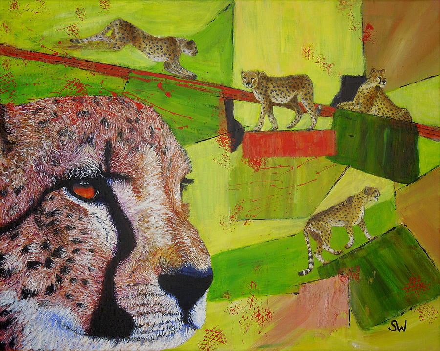 Cheetahs at play by Shirley Wellstead