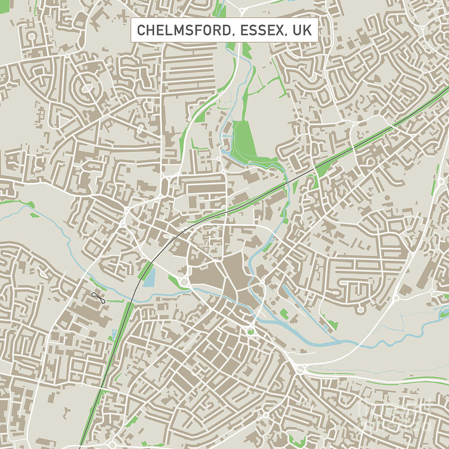 Chelmsford Essex Uk City Street Map Digital Art by Frank Ramspott
