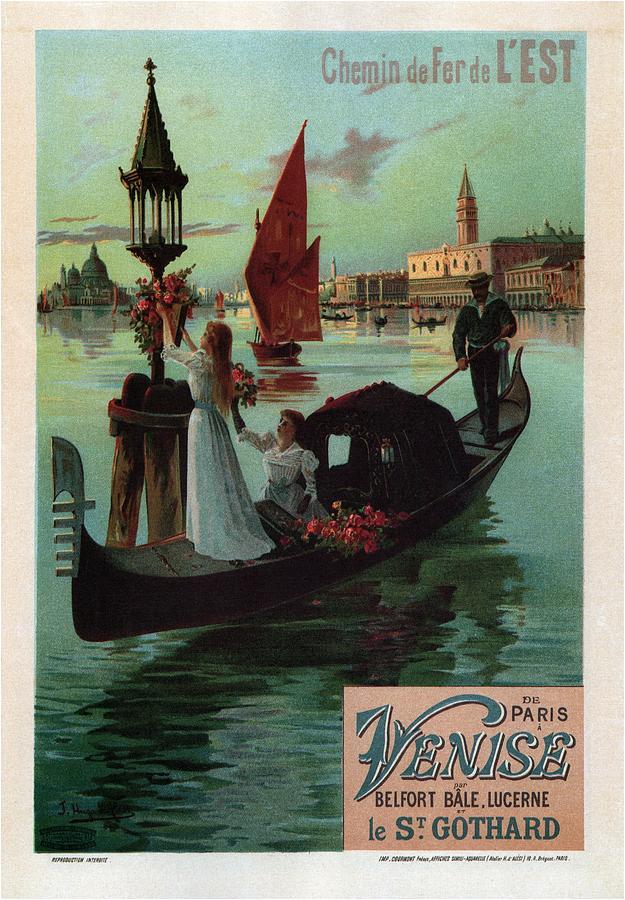 Chemin De Fer De Lest - Venise, Italy - Retro Travel Poster - Vintage Poster Mixed Media