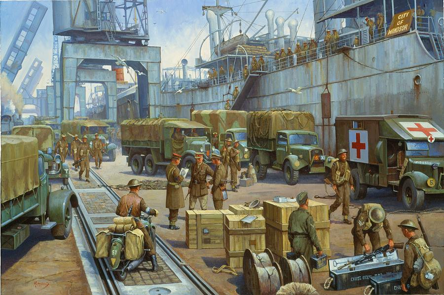 Ww2 Painting - Cherbourg 1940. by Mike  Jeffries