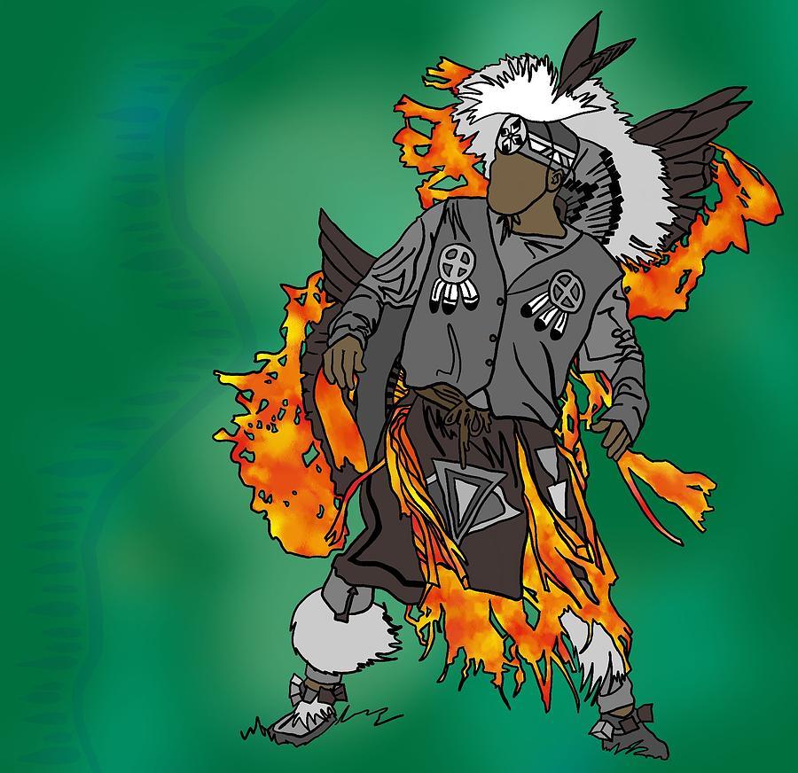 Dance Digital Art - Cherokee 2 by M Blaze Wolenski