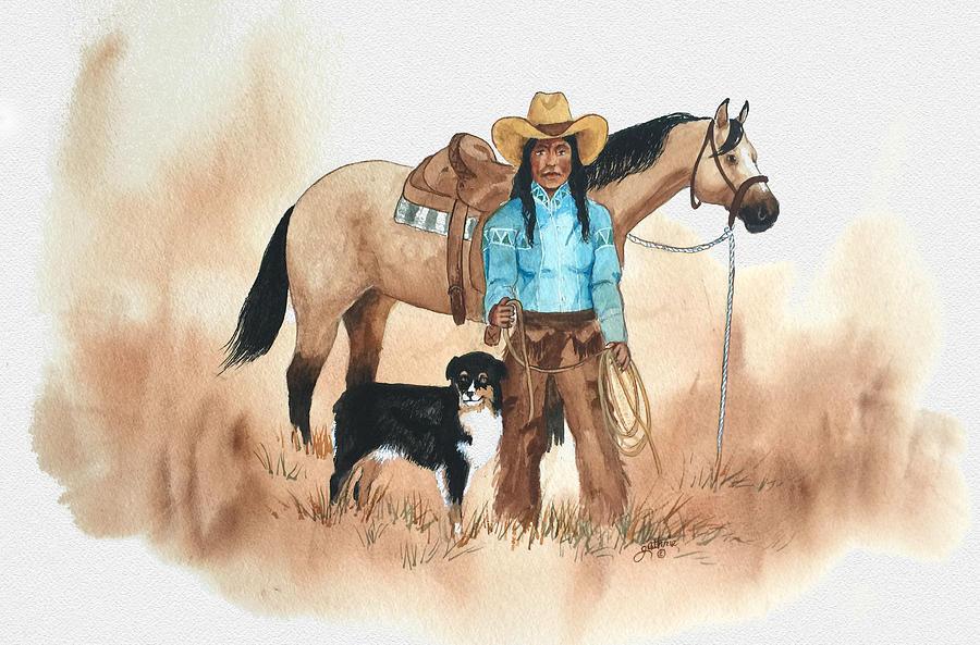 Cherokee Painting - Cherokee Cowgirl by John Guthrie