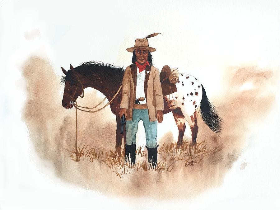 Cherokee Painting - Cherokee Lighthorse by John Guthrie