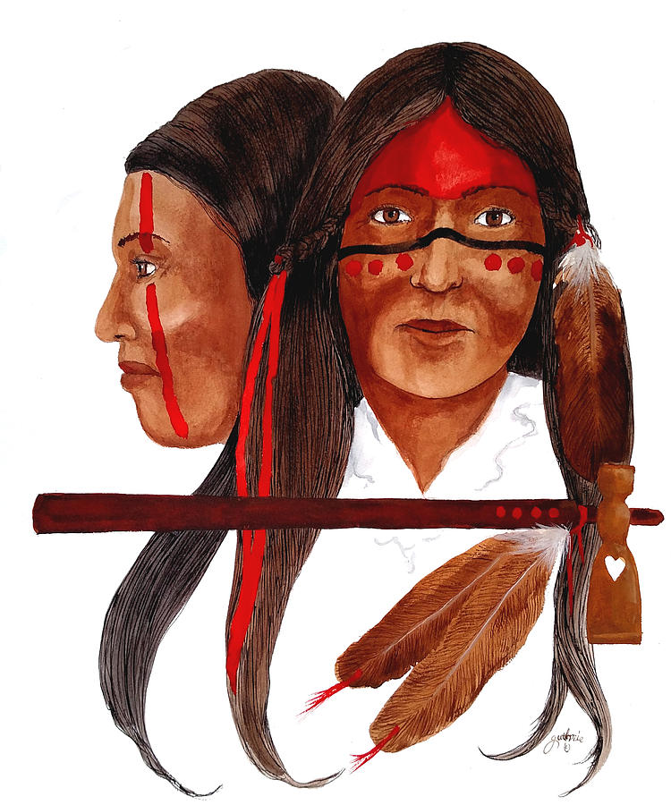 Cherokee Mixed Media - Cherokee War Women by John Guthrie