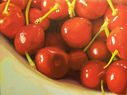 Cherries Painting - Cherries A La Carder by Kathy Lumsden