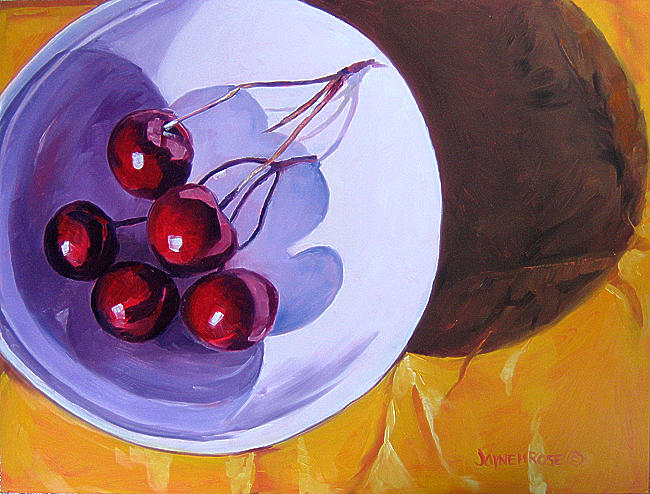 Still Life Painting - Cherries In Shadow Sold by Jayne Rose